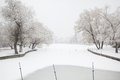 Winter lake artificial unmanned silence after the snow became white environment Stock Images