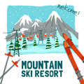Winter landscape advertising poster color presenting ski resort with ice peaks pines and cableway vector illustration Stock Photo
