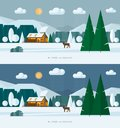 Winter landscape banners. Snowy village and nature