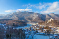 Winter landscape on a beautiful cold and crisp day in the bavarian alps Royalty Free Stock Photography