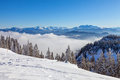 Winter landscape on a beautiful cold and crisp day in the bavarian alps Royalty Free Stock Photo