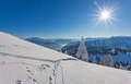 Winter landscape on a beautiful cold and crisp day in the bavarian alps Royalty Free Stock Image