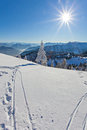 Winter landscape on a beautiful cold and crisp day in the bavarian alps Royalty Free Stock Images