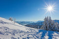 Winter landscape on a beautiful cold and crisp day in the bavarian alps Stock Photos