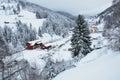 Winter landscape beautifull winter scene in romanian carpathians mountain bran Royalty Free Stock Images