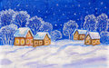 Winter landscape on dark blue sky christmas new year picture with houses and trees painting watercolours white acrylic Stock Image