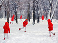 Winter landscape with duplicate person in red clothes concept graphic Royalty Free Stock Images