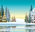 Winter landscape. Early spring. Forest and lake. Royalty Free Stock Photo