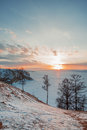 Winter landscape of lake baikal in Stock Photos
