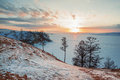 Winter landscape of lake baikal in Stock Images