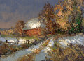 Winter landscape lower saxony created oil paints Royalty Free Stock Images
