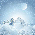 Winter landscape with moon. Royalty Free Stock Images