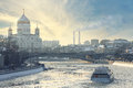 Winter landscape Moscow embankment Royalty Free Stock Photo