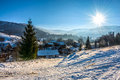 Winter landscape in mountainous rural area Royalty Free Stock Photo
