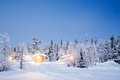 Winter landscape night with cabin hut at in kiruna sweden at Stock Photography
