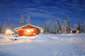 Winter landscape at Night Lapland Sweden Royalty Free Stock Photo