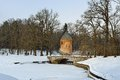 Winter landscape of the Pavlovsk garden, Pil-Tower pavilion. Royalty Free Stock Photo