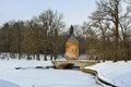 Winter landscape of the Pavlovsk garden, Pil-Tower pavilion. Royalty Free Stock Photo