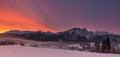 Winter Landscape Of Poland Tatra Mountains & Giewont Peak. View At Most Famous Polish Ski Resort Zakopane From The Top Of Gubalowk Royalty Free Stock Photo