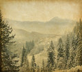Winter landscape retro image of in the carpathians mountains vintage paper Royalty Free Stock Images