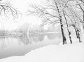 Winter landscape with the rive Royalty Free Stock Photography
