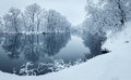 Winter landscape with river in forest Royalty Free Stock Photo