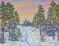 Winter landscape with the road and pine trees in the snow on a canvas. Original oil painting.
