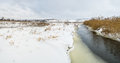 Winter landscape with small Ukrainian river Sura. Royalty Free Stock Photos