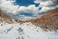 Winter landscape snow cloudy sky Royalty Free Stock Photo