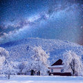 Winter landscape with snow in mountains carpathians ukraine starry sky Stock Image