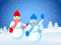 Winter landscape and snowmans Stock Image