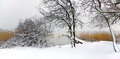Winter landscape with snowy mole from hungary Stock Photos