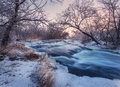 Winter landscape with snowy trees, beautiful frozen river at sun Royalty Free Stock Photo