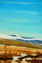 Winter landscape in spanish mountains pyrenees painting on a canvas Royalty Free Stock Images