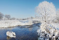 Winter landscape in a sunny day at the river Royalty Free Stock Photos