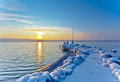 Winter Landscape at Sunrise Royalty Free Stock Photos