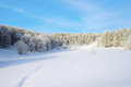 Winter landscape with trees on mountains Royalty Free Stock Photo