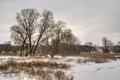 Winter landscape in Ukrainian rural area Royalty Free Stock Photo