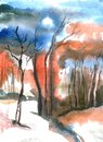 Winter watercolor landscape with sunset. Watercolor illustration.