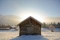 Winter landscape with wooden barn, Pitztal Alps - Tyrol Austria