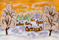 Winter landscape on yellow hand painted illustration watercolours and white acrylic and gouache sky can be used as christmas and Stock Photography