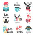 Winter lettering set with holiday elements. Santa Claus, deer.