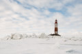 Winter lighthouse the island in the on the ladoga lake russia Royalty Free Stock Photography