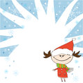 Winter little cartoon girl in santa claus costume standing on backgrounds Stock Image