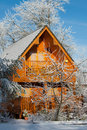 A Winter Log Cabin Stock Images