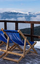 Winter lounge chair at mountain ski resort in bukovel ukraine Royalty Free Stock Photography
