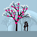 Winter Love Tree Royalty Free Stock Images