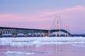 Winter, Mackinac Bridge