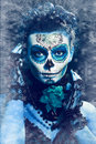 Winter make up sugar skull beautiful model with ice santa muerte concept Stock Image