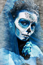 Winter make up sugar skull beautiful model with ice santa muerte concept Royalty Free Stock Images